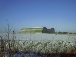cardington airship sheds in the snow.